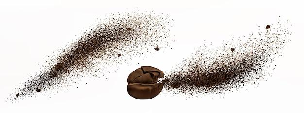 Explosion de café, grain craquelé réaliste et poudre moulue éclatent avec des éclaboussures de particules brunes
