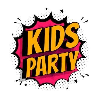 Explosion comique avec texte kids party. illustration de plat vectorielle. explosion de bulle colorée