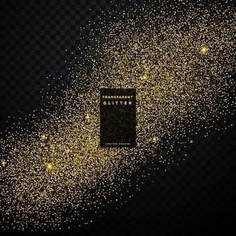 Explosion de confettis brillant d'or sur fond transparent noir
