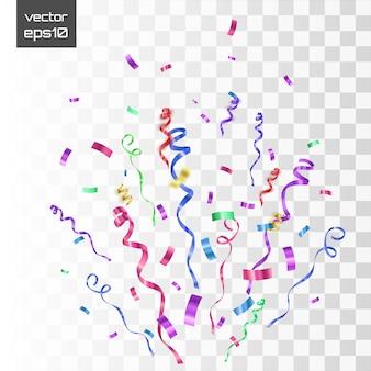 Explosion de confettis éclaté. rubans volants de couleur et banderoles.