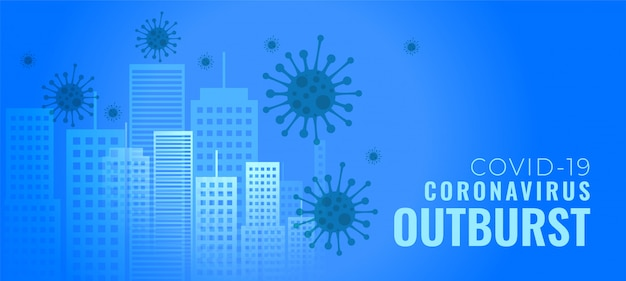 Explosion de coronavirus infectant la bannière de concept de bâtiments de villes