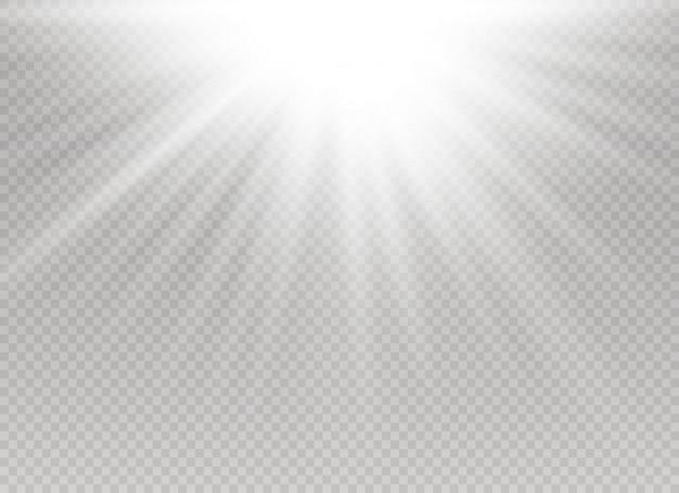 Explosion éclatée de lumière rougeoyante blanche sur fond transparent.