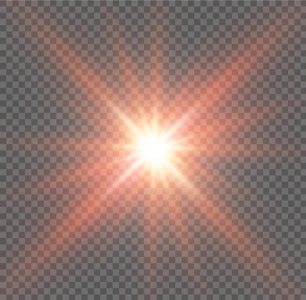Explosion éclatée de lumière rougeoyante blanche avec transparent. illustration pour la décoration d'effet cool avec ray scintille. étoile brillante. glitter dégradé transparent brillant, éclat lumineux.
