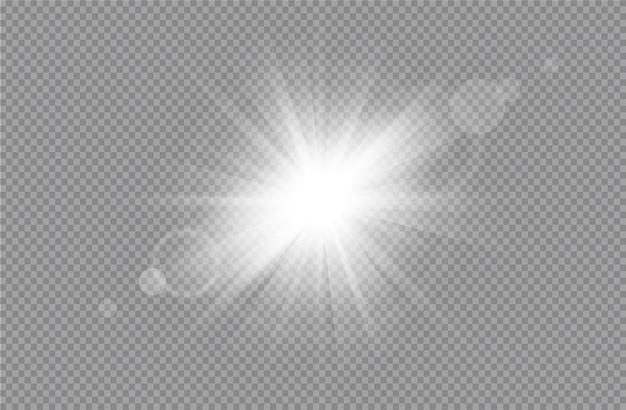 Explosion d'éclatement de lumière rougeoyante blanche avec effet de lumière rougeoyante de vecteur transparent avec des rayons d'or