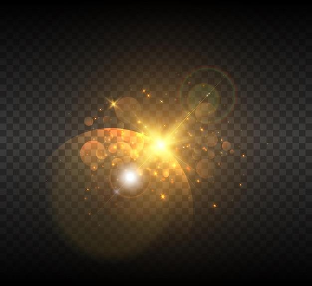 Explosion d'une étoile dans l'espace avec éblouissement et rayons lumineux.