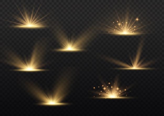 Explosion d'étoile, rayons de soleil de lumière jaune, effet spécial de fusée éclairante, étincelles magiques