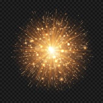 Explosion d'étoile rougeoyante avec des étincelles et des rayons
