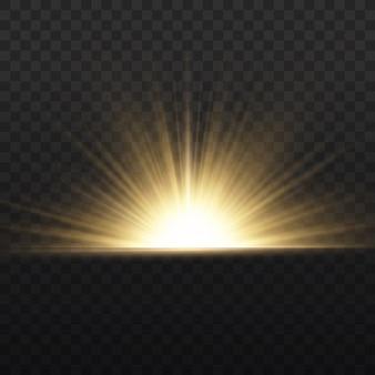 Explosion d'étoiles sur fond transparent, lueur jaune allume les rayons du soleil, effet spécial flare avec des rayons de lumière et des étincelles magiques, étoile dorée brillante et brillante,