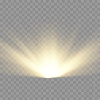 Explosion d'étoiles, rayons de soleil lumières jaune lueur, effet spécial de flare avec des rayons de lumière et des étincelles magiques, étoile dorée brillante et brillante, illustration vectorielle