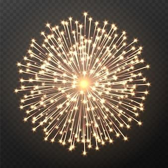 Explosion de feu d'artifice, effet de pétard léger isolé