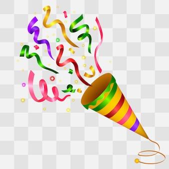 Explosion de fond coloré confetti popper