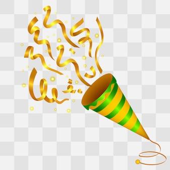Explosion de fond de golden confetti popper