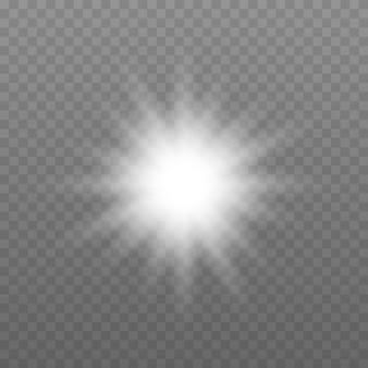 Explosion de lumière éclatante blanche avec illustration vectorielle transparente