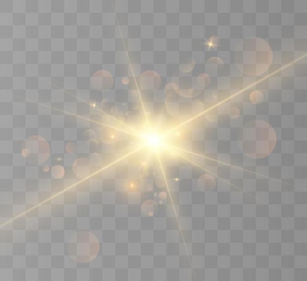 Explosion de lumière éclatante jaune avec illustration vectorielle transparente pour une décoration à effet cool