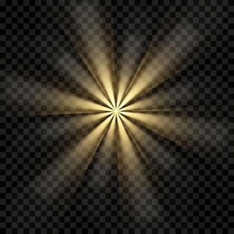 Explosion de lumière éclatante or ou blanche transparente.