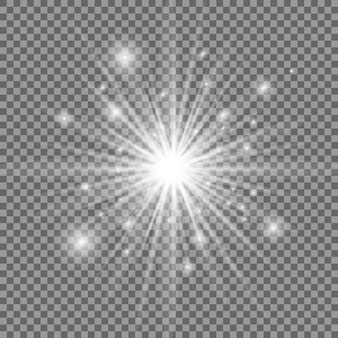 Explosion de lumière rougeoyante blanche. étoile brillante