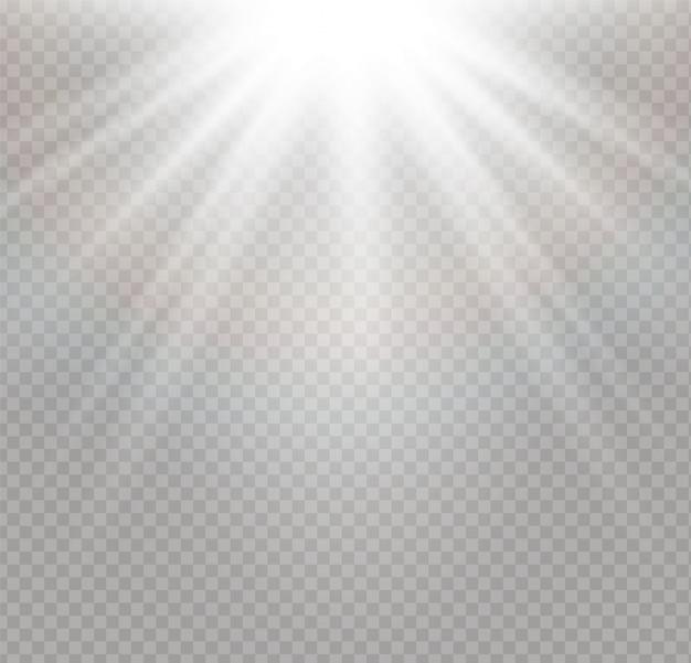 Explosion de lumière rougeoyante blanche sur fond transparent.