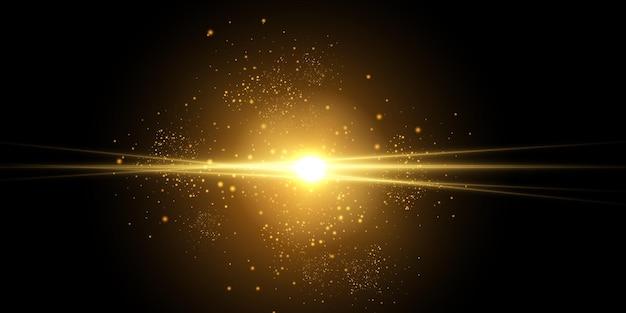 Explosion de lumière rougeoyante jaune avec des étincelles de rayon