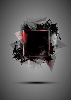 Explosion noire abstraite de triangles avec un cadre