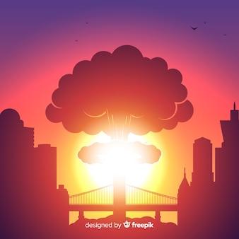 Explosion nucléaire dans un style de ville