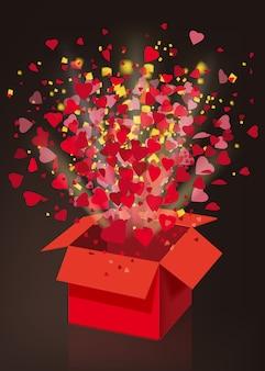 Explosion ouverte boîte cadeau rouge voler coeurs et confettis, illustration de la saint-valentin heureuse