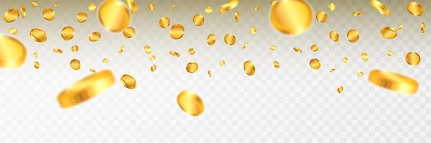Explosion de pièces d'or réaliste isolée