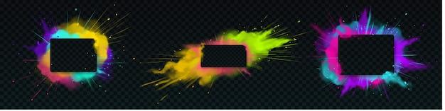 Explosion de poudre de couleur avec cadre rectangle