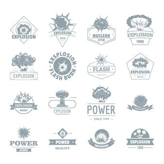 Explosion de puissance logo icônes définies