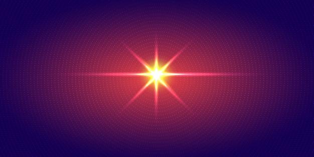 Explosion rouge lumière points radiaux fond bleu.