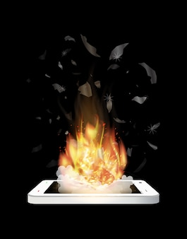 Explosion de smartphone cassé avec feu brûlant