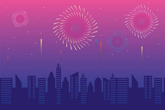 Explosions de feux d'artifice avec citsycape