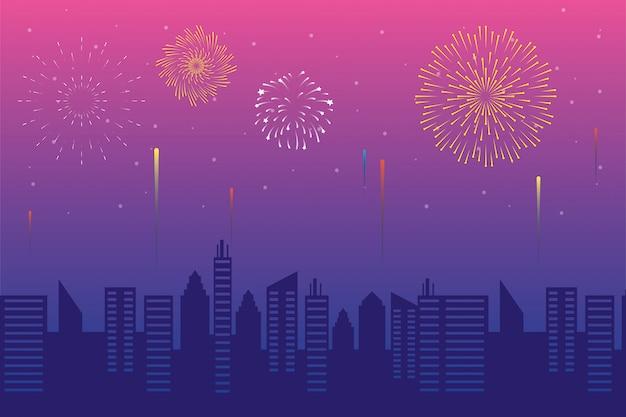 Explosions de feux d'artifice avec paysage urbain
