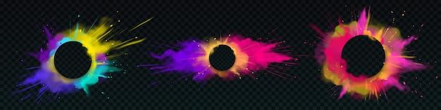 Explosions de poudre de couleur avec des bannières rondes