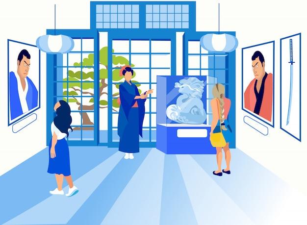 Exposition chinoise. guide femme habillé geisha.