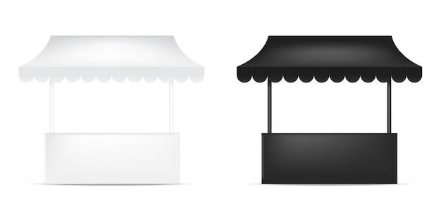 Exposition réaliste de kiosque d'étalage de maquette 3d