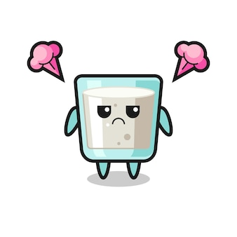Expression agacée du personnage de dessin animé de lait mignon, design de style mignon pour t-shirt, autocollant, élément de logo