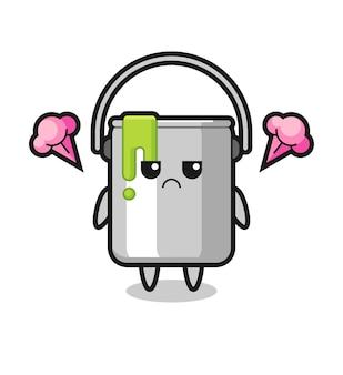 Expression agacée du personnage de dessin animé mignon en étain de peinture, design de style mignon pour t-shirt, autocollant, élément de logo