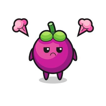 Expression agacée du personnage de dessin animé mignon de mangoustan, design de style mignon pour t-shirt, autocollant, élément de logo