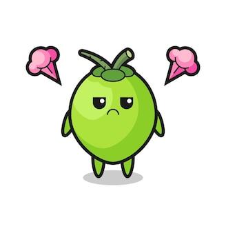 Expression agacée du personnage de dessin animé mignon de noix de coco