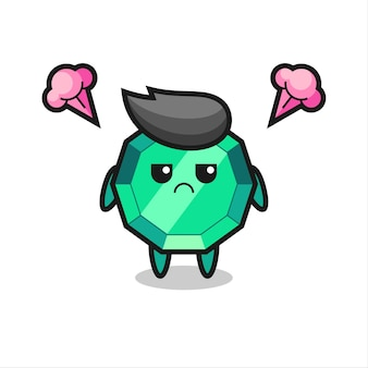Expression agacée du personnage de dessin animé mignon de pierres précieuses émeraude, design de style mignon pour t-shirt, autocollant, élément de logo
