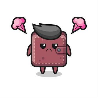 Expression agacée du personnage de dessin animé mignon de portefeuille en cuir, conception de style mignon pour t-shirt, autocollant, élément de logo