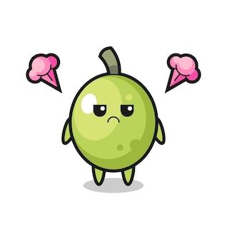 Expression agacée du personnage de dessin animé d'olive mignon, design de style mignon pour t-shirt, autocollant, élément de logo