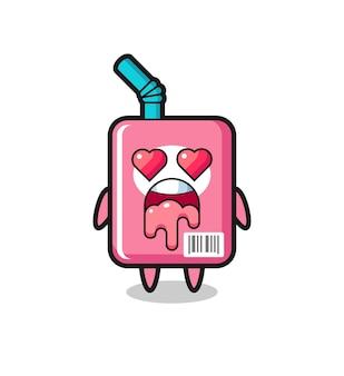 L'expression amoureuse d'une jolie boîte à lait avec des yeux en forme de coeur, un design de style mignon pour un t-shirt, un autocollant, un élément de logo