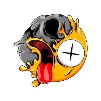 Expression avec changement de visage de mort en émoticône de visage de crâne de mort
