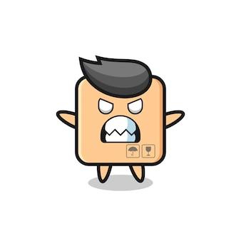 Expression courroucée du personnage mascotte de la boîte en carton, design de style mignon pour t-shirt, autocollant, élément de logo