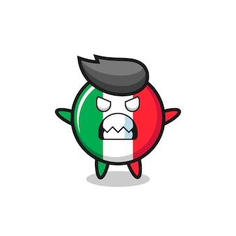 Expression courroucée du personnage mascotte du drapeau italien, design de style mignon pour t-shirt, autocollant, élément de logo