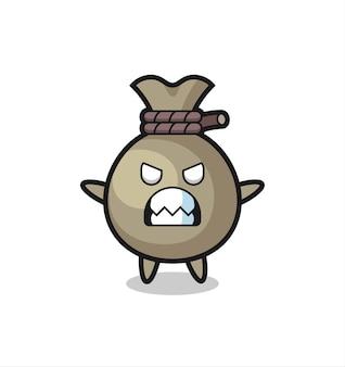 Expression courroucée du personnage de la mascotte du sac d'argent, design de style mignon pour t-shirt, autocollant, élément de logo