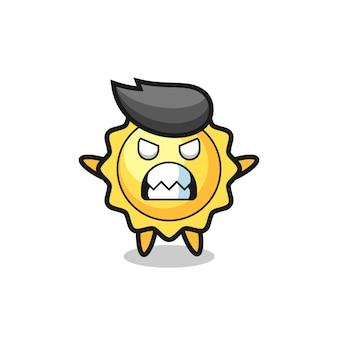 Expression courroucée du personnage de la mascotte du soleil, design de style mignon pour t-shirt, autocollant, élément de logo