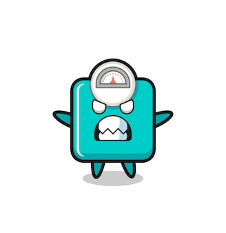 Expression courroucée du personnage mascotte de l'échelle de poids, design de style mignon pour t-shirt, autocollant, élément de logo