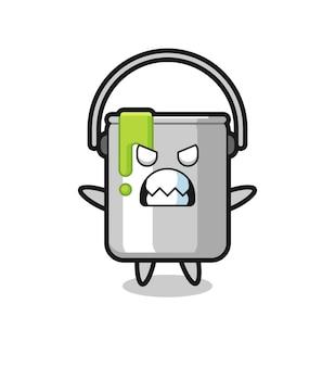 Expression courroucée du personnage de mascotte en étain de peinture, design de style mignon pour t-shirt, autocollant, élément de logo